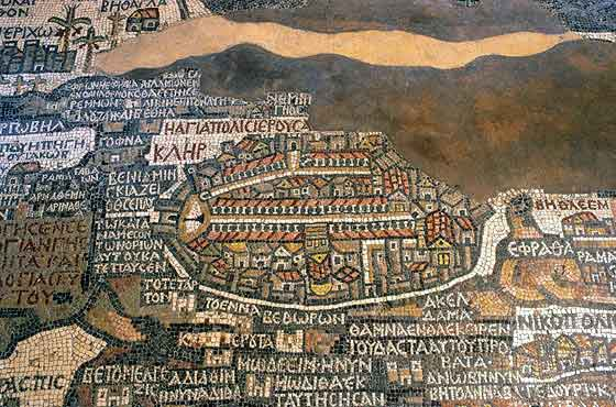 Plan of Jerusalem in the Mosaic Map of Madaba