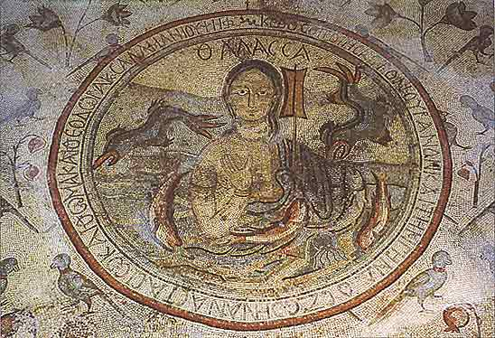 Feminine Personification of the Sea Mosaic at Madaba